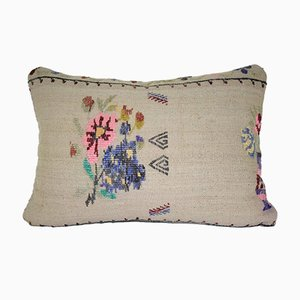 Embroidered Aubusson Chair Cushion Cover with Floral Pattern from Vintage Pillow Store Contemporary