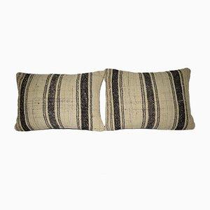 Fundas de cojín turcas de lana a rayas artesanales de Pillow Store Contemporary. Juego de 2