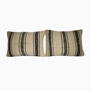 Turkish Handmade Wool Striped Pillow Covers from Vintage Pillow Store Contemporary, Set of 2