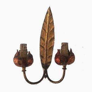 Aplique Mid-Century en forma de hoja de hierro dorado, años 50