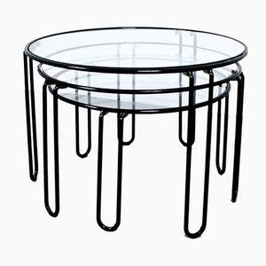 Tavolini ad incastro vintage in metallo nero e vetro, anni '80