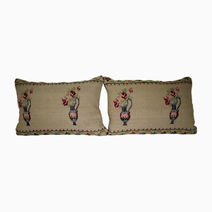 Needlepoint Kilim Lumbar Pillow Covers from Vintage Pillow Store Contemporary, Set of 2