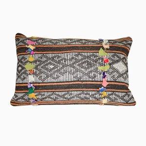 Kelim Kissenbezug mit Ziegenhaar & Leder von Vintage Pillow Store Contemporary