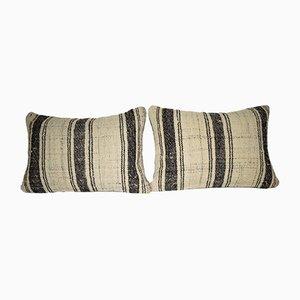 Gestreifte türkische Lumbar Kissenbezüge von Vintage Pillow Store Contemporary, 2er Set