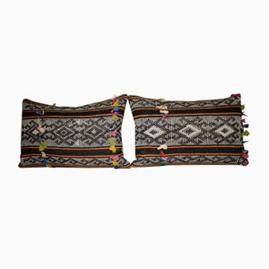African Mudcloth Goat Hair Kilim Pillow Covers, Set of 2