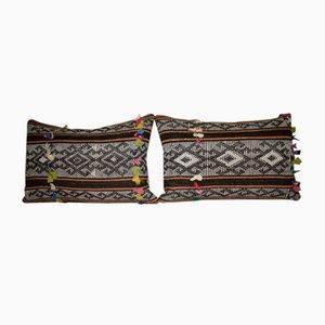 Kelim Kissenbezüge mit afrikanischem Muster & Ziegenhaar, 2er Set