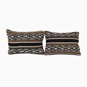 Federe Kilim con motivo tribale moderno di Vintage Pillow Store Contemporary, Turchia, set di 2