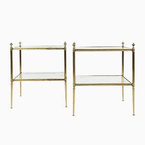 Zweistufige französische Mid-Century Tische von Maison Bague, 1950er, 2er Set
