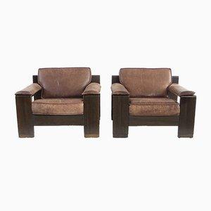 Chaises Vintage en Cuir de Leolux, Set de 2