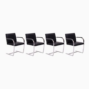 Brno Black Flat Bar Chairs by Ludwig Mies van der Rohe for Knoll Inc. / Knoll International, 2000s, Set of 4