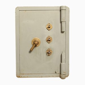 Small Vintage Industrial Grey Safe