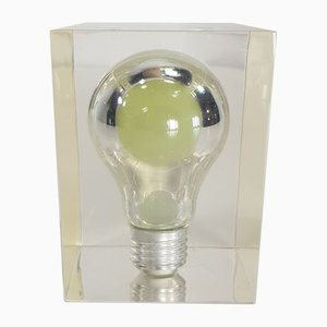 Glow In The Dark Lucite Light Bulb Sculpture by Pierre Giraudon, 1970s