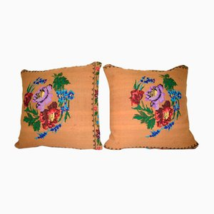 Square Needlepoint Floral Kilim Pillow Covers from Vintage Pillow Store Contemporary, Set of 2