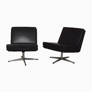 Black Leather Chairs, 1960s, Set of 2