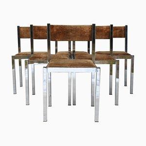 Chaises de Salle à Manger Mid-Century Vintage en Chrome de Cidue, 1970s, Set de 6