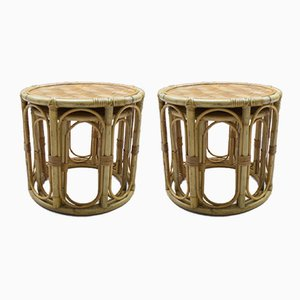 Rattan and Bamboo Side Tables, 1960s, Set of 2