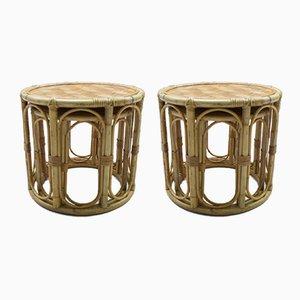 Tables d'Appoint en Rotin et Bambou, 1960s, Set de 2