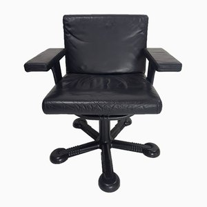 Leather Swivel Chair by Tobia & Afra Scarpa for Molteni, 1970s, Set of 5