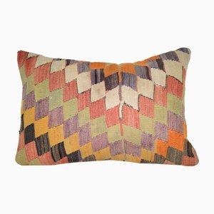Federa Kilim arancione, verde e gialla con motivo geometrico di Vintage Pillow Store Contemporary