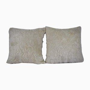 Weiße zottelige türkische Wollkissenbezüge von Vintage Pillow Store Contemporary, 2er Set