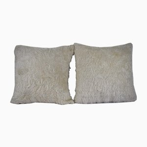 White Turkish Shaggy Kilim Pillow Covers from Vintage Pillow Store Contemporary, Set of 2