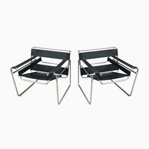 Vintage Wassily Stühle aus schwarzem Leder & Metall von Marcel Breuer für Gavina, 1970er, 2er Set