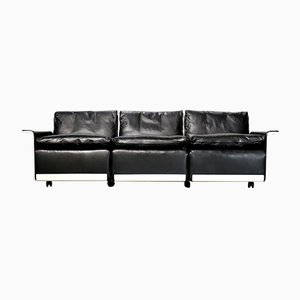 Vintage 620 Black Leather 3-Seater Sofa by Dieter Rams for Vitsœ