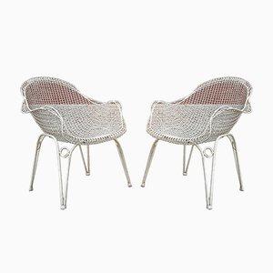 Gebogene Sessel aus Eisen & Drahtgitter von Gio Ponti für Atelier Borsani Varedo, 1950er, 2er Set