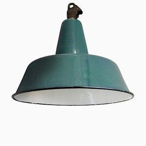Lampe à Suspension Industrielle Vintage en Émail Bleu Pétrole, 1950s