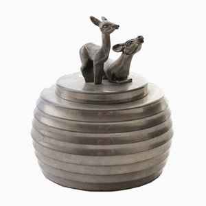 Pewter Can with 2 Deer from Svenskt Tenn, 1930s