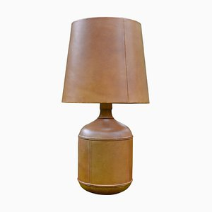 Vintage Belgian Leather Table Lamp, 1970s