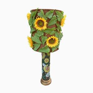 Französische Tisch- oder Stehlampe in Sonnenblumen-Optik aus Keramik, 1970er