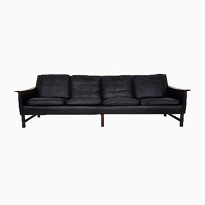 Minerva' Rosewood & Black Leather 4-Seat Sofa by Torbjørn Afdal for Bruksbo, 1950s