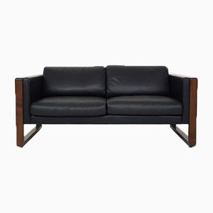 Black Leather Two-Seater Sofa by Walter Knoll for Walter Knoll / Wilhelm Knoll, 1970s