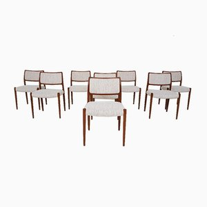 Model 80 Dining Chairs by Niels Otto Møller for J.L. Møllers, 1960s, Set of 8
