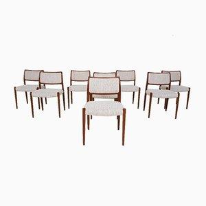 Modell 80 Esszimmerstühle von Niels Otto Møller für JL Møllers, 1960er, 8er Set