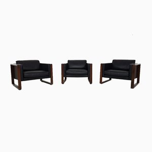German Leather Lounge Chairs by Walter Knoll, 1970s, Set of 3