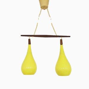 Lámpara de araña doble de vidrio de Kastrup Holmegaard, años 60
