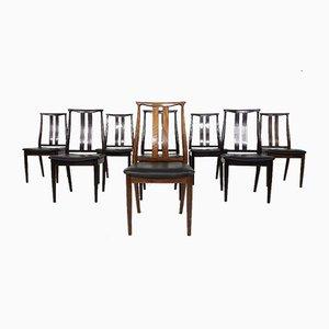 Sillones de palisandro y cuero negro de Danish Overseas Furniture, años 60. Juego de 8