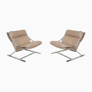 Beige Leather Zeta Lounge Chairs by Paul Tuttle for Strässle, 1960s, Set of 2