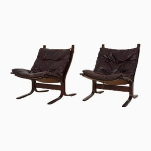 Norwegian Leather Siesta Chairs by Ingmar Relling for Westnofa, 1960s, Set of 2