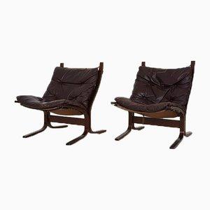 Sedie Siesta in pelle di Ingmar Relling per Westnofa, Norvegia, anni '60, set di 2