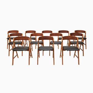 Model 71 Teak Saw Buck Chairs by Henning Kjærnulf for Boltings Stolefabrik, 1960s, Set of 12