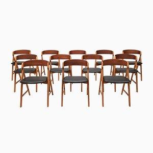 Model 71 Teak Saw Buck Chairs by Henning Kjærnulf for Boltings Stolefabrik, 1960s, Set of 12