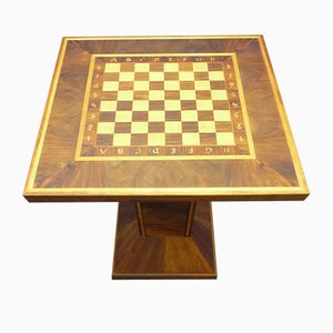 Art Deco Walnut & Maple Side Table Chess Set, 1930s