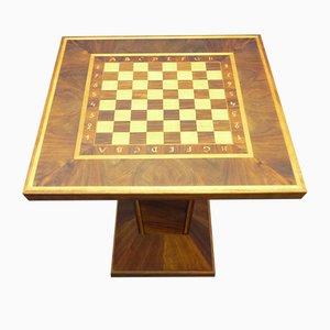 Tavolino con scacchiera Art Deco in noce e acero, anni '30