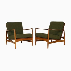 Model 6245 Danish Range Afrormosia & Green Tweed Lounge Chairs by Ib Kofod Larsen for G-Plan, 1962, Set of 2