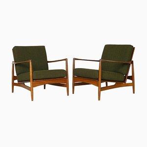 Model 6245 Danish Range Afrormosia & Green Tweed Lounge Chairs by Ib Kofod Larsen for G-Plan, 1962, Set of 2