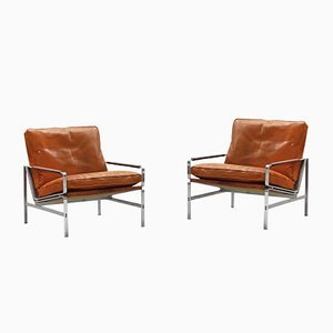 Mod. 6720 Leather Lounge Chairs by Fabricius & Kastholm for Kill International, 1960s, Set of 2