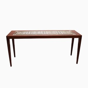 Rosewood & Tile Side Table by Severin Hansen for Haslev Møbelsnedkeri, 1960s